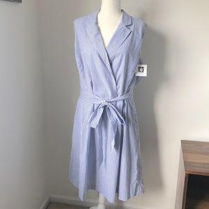 NWT 🏷 Anne Klein Navy/White Striped Dress Size 20